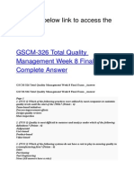 GSCM 326 Total Quality Management Week 8 Final Exam