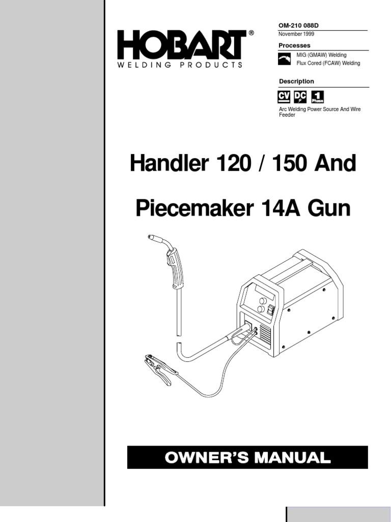 Hobart Handler 120 150 Welder Manual Welding Electrical Wiring Garage For