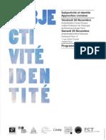 Programme Colloque Subjectivité et Identité Approches Croisées (final)