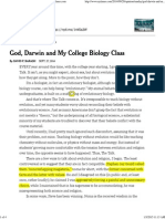God, Darwin and My College Biology Class - NYTimes