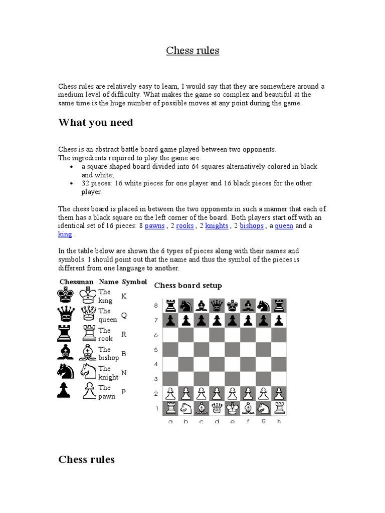 Chess Rules | Chess | Traditional Games | Free 30-day ...
