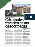 Criminales invaden casas desocupadas