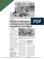 Madres bilingües se reúnen para enseñar español a sus hijos