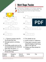 Chinese New Year Worksheet with Answer Key Wordshapes