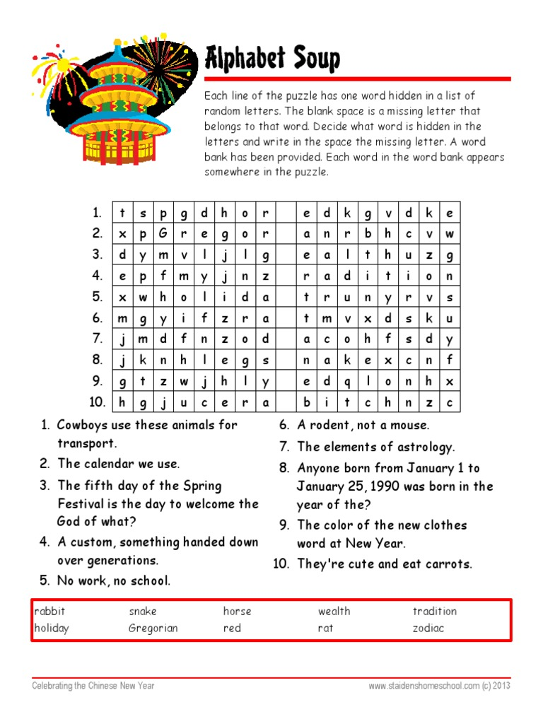 Chinese New Year Worksheet with Answer Key Alphabet Soup ...