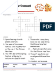 Chinese New Year Worksheet with Answer Key Crossword Puzzle