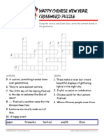 Chinese New Year Crossword Puzzle Worksheet with Answer Key