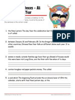 Chinese New Year Worksheet with Answer Key Scrambled Sentences