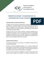 COMENTARIOS AL ANTEPROYECTO DE CODIGO PENAL - Versión final