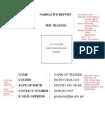 Narrative Report for Practicum