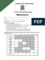 North Sydney Girls 2009 Year 10 Maths Yearly & Solutions