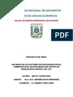 INFLUENCIA DE LOS FACTORES SOCIO-ECONÓMICOS EN EL SUBEMPLEO EN EL SECTOR URBANO DEL DISTRITO DE  MORALES EN EL PERIODO 2006 -2011