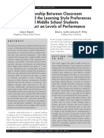 relationship between classroom environment and learning style preferences of gifted middle school students