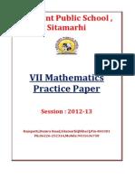VII Mathematics C.B.S.E. Practice Paper