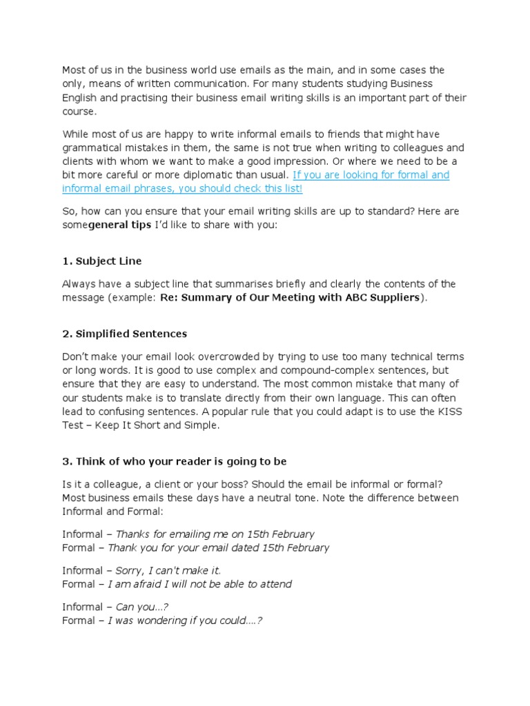 30 Simple Examples of Business Email Writing in English   Email ...