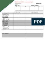 Debates in English Assessment Grid in English