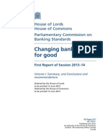 UK House of Lords & Commons - Changing Banking for Good
