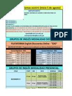 Horarios Agosto 2015- Centro de Idiomas Uss