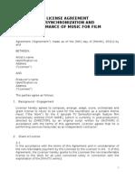 License Agreement Music for Film