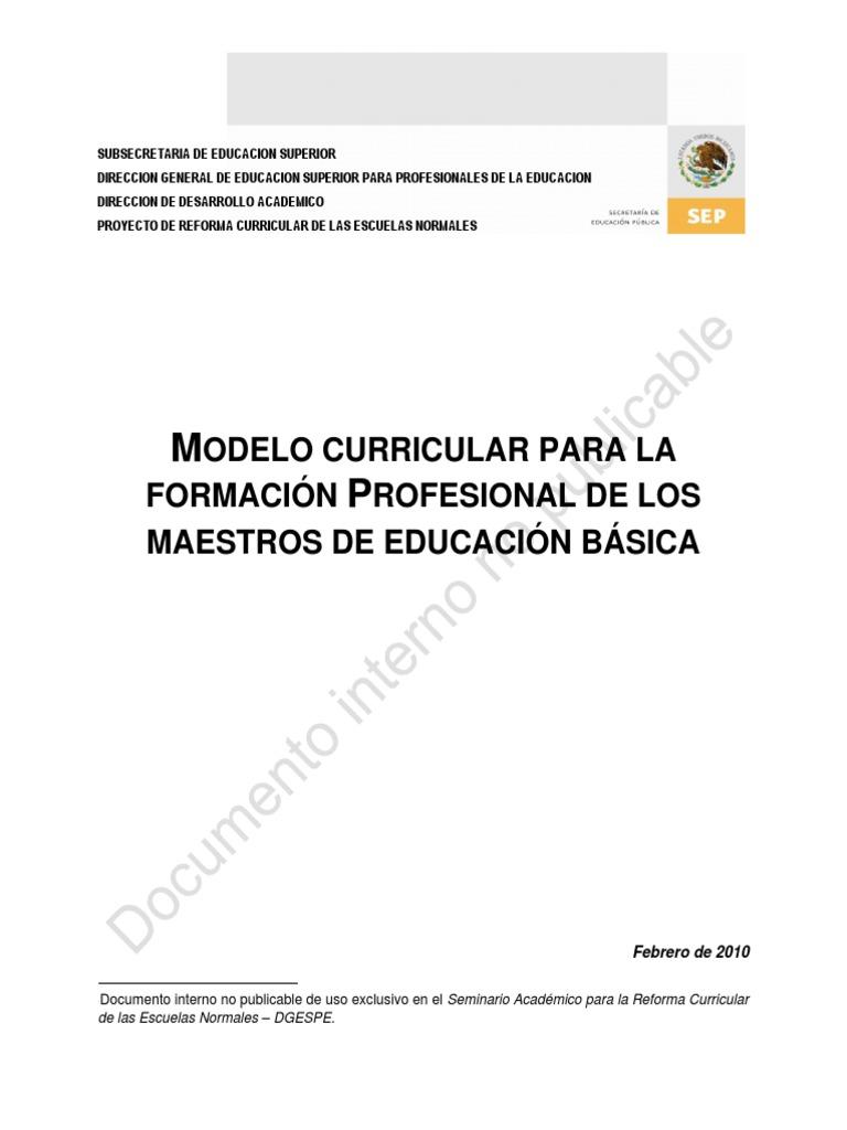 Modelo Curricular Formacion Docente 2010