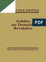 Hans Von Hentig Aufsätze Zur Deutschen Revolution Berlin Heidelberg 1919