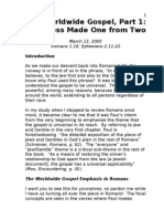 The Worldwide Gospel -Romans 1~16 and Ephesians 2~11-22
