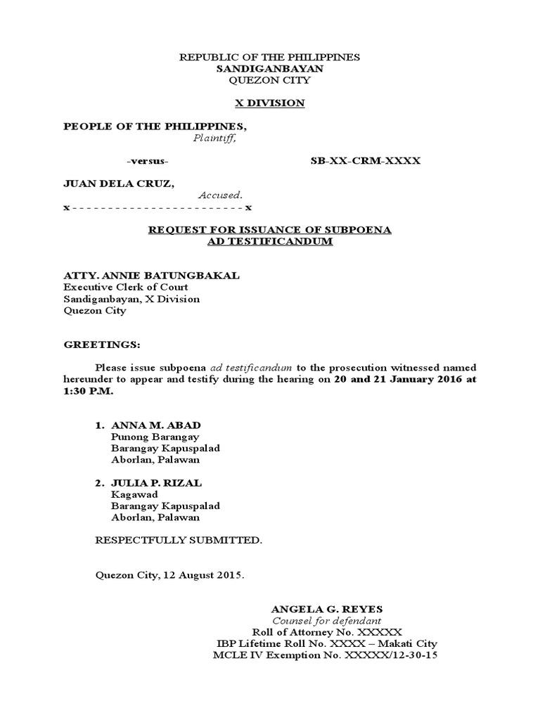 Request For Subpoena Sample