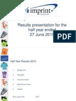 4imprint H1 15 Results