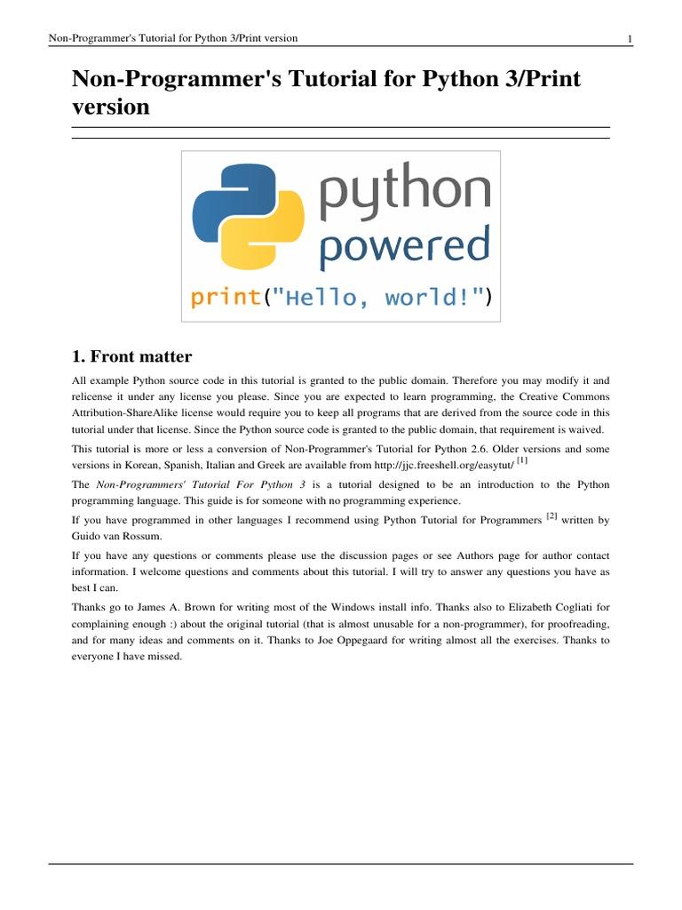 Non-Programmer's Tutorial for Python 3 | Python (Programming