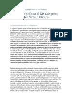 Informe político al XIX congreso del Partido Obrero (la etapa final de los Kirchner)