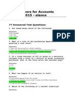 Test Answers for Accounts Payable 2015 - Elance