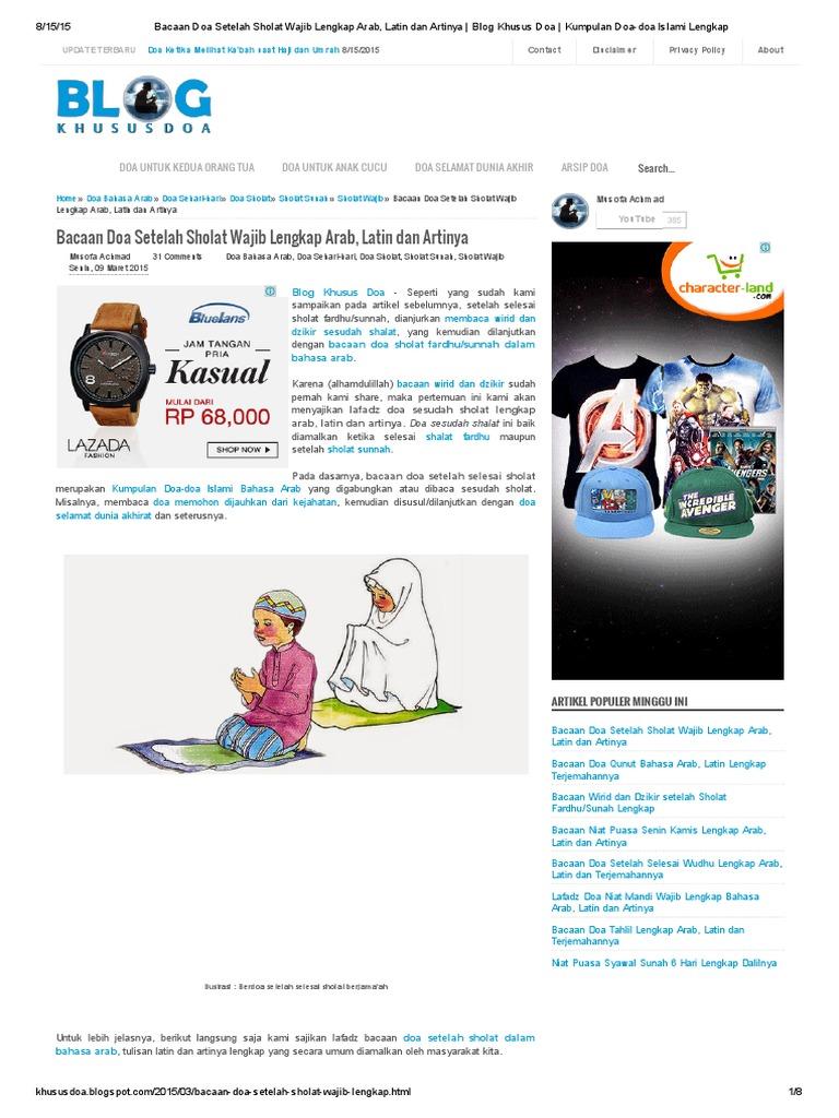 Bacaan Doa Setelah Sholat Wajib Lengkap Arab Latin Dan