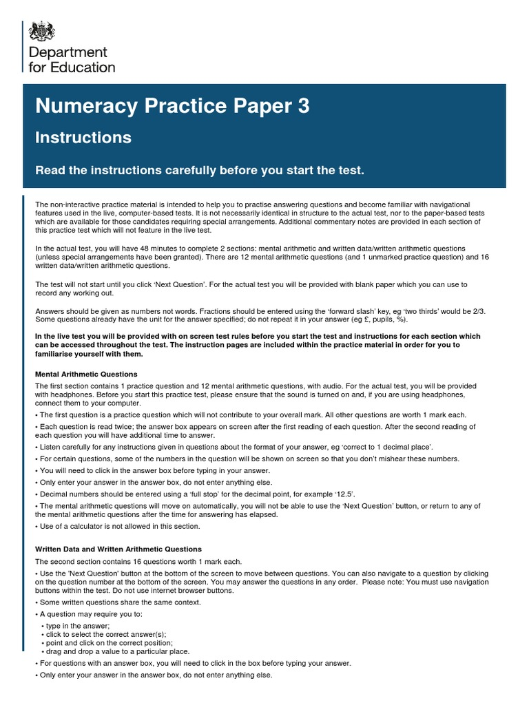 Numeracy Practice Paper 3 (1) | Fraction (Mathematics) | Multiplication