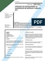 NBR 09650 NB 1038 - Verificacao Da Estanqueidade No Assentamento de Adutoras e Redes de Agua