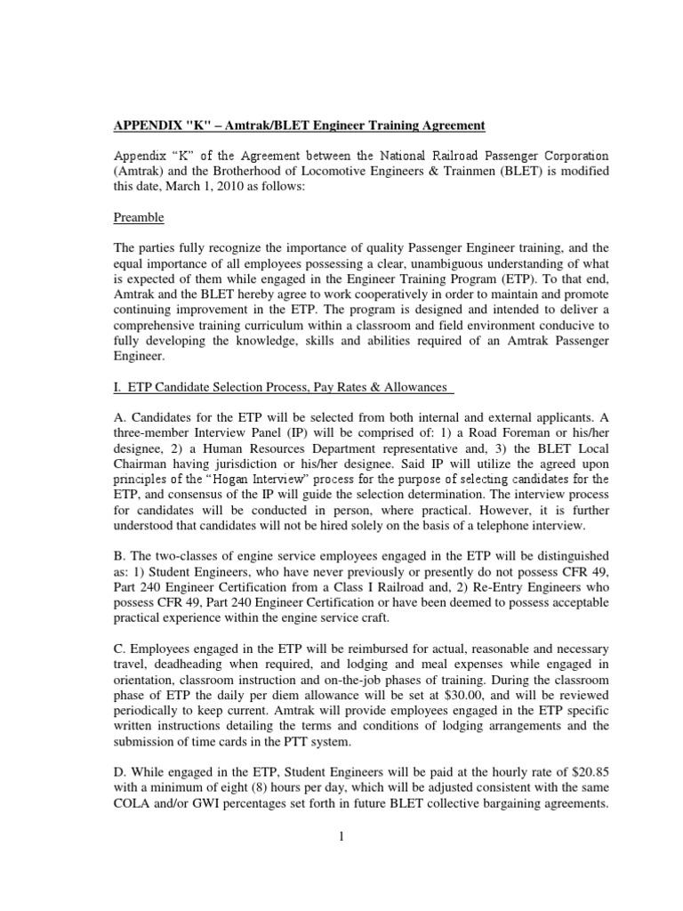 Appendix K Amtrakblet Engineer Training Agreement Test