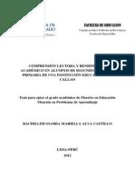 2012 Alva Comprensión Lectora y Rendimiento Académico en Alumnos de Segundo Grado de Primaria de Una Institución Educativa Del Callao