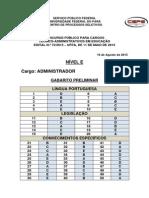 Gabarito Oficial Preliminar - Administrador - Nivel e