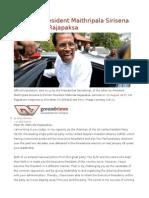 Letter by President Maithripala Sirisena to Mahinda Rajapaksa