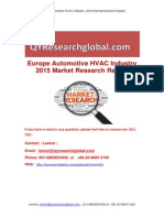 Europe Automotive HVAC Industry 2015 Market Research Report
