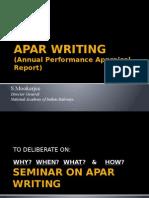APAR WRITING BY S MOOKERJEE DG-NAIR