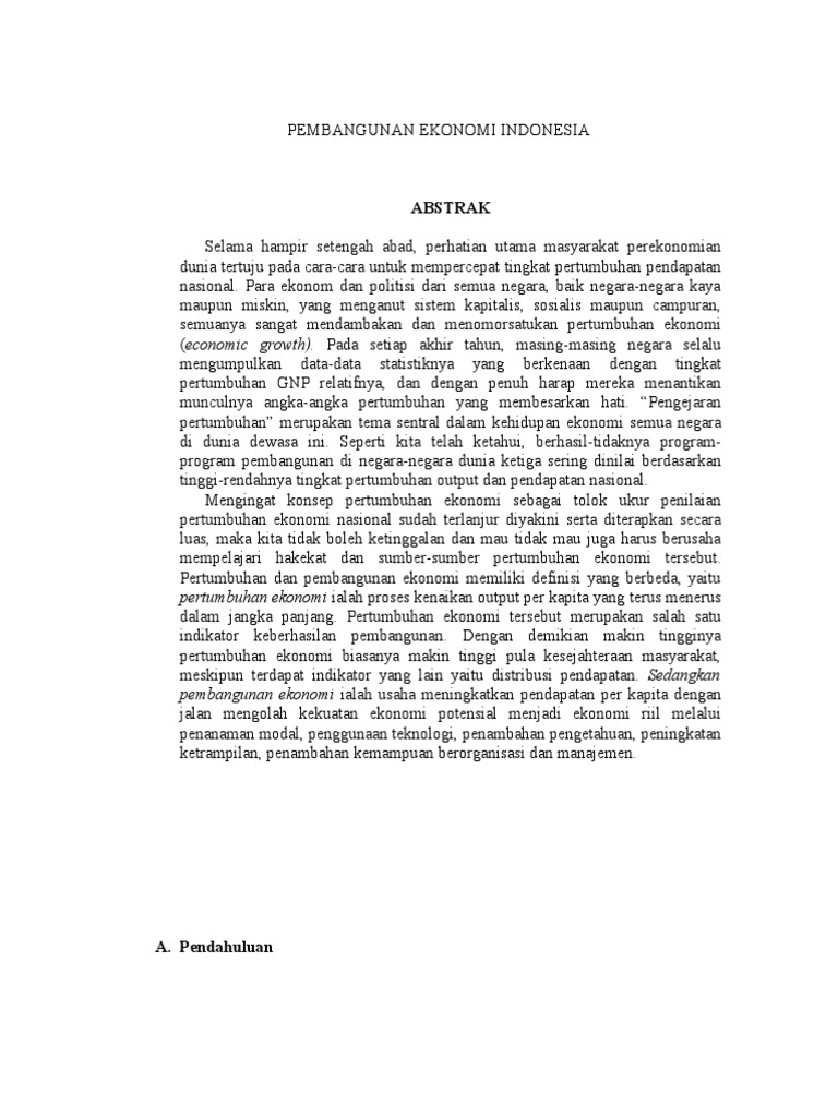 Artikel Rizki Pembangunan Ekonomi Indonesia