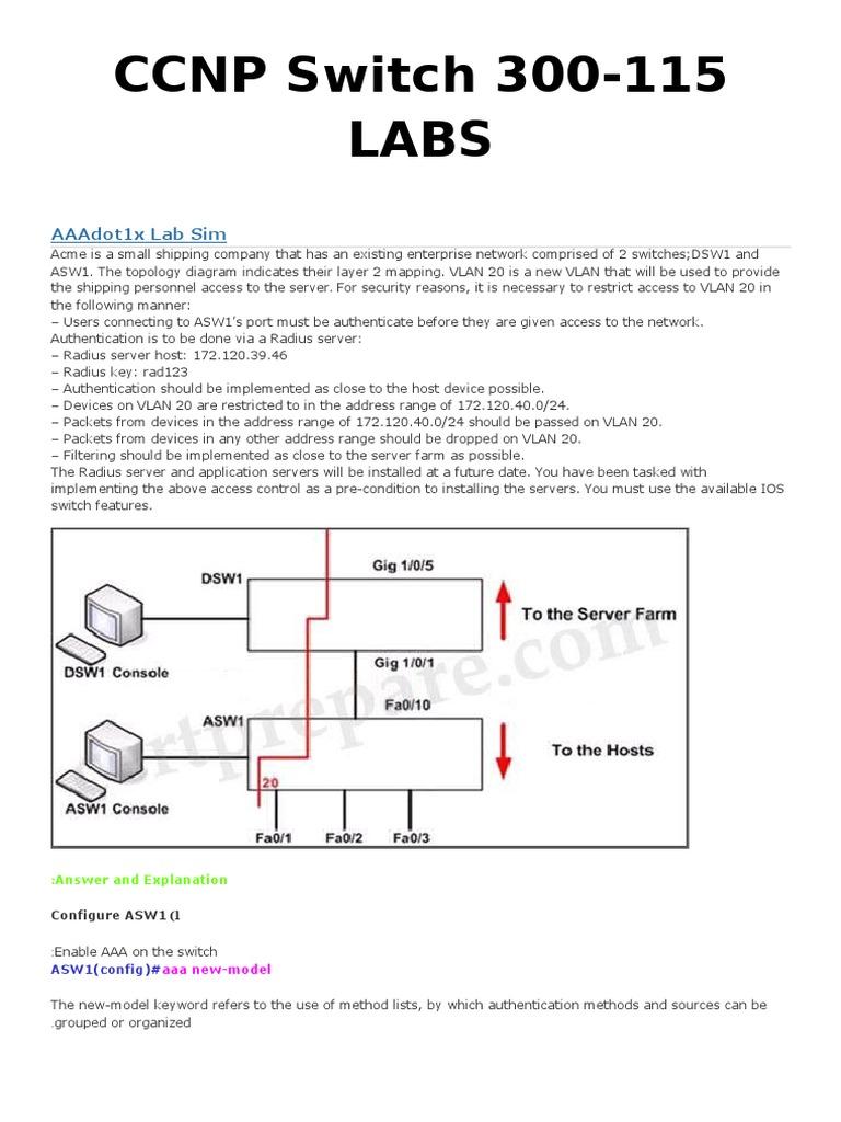 Workbooks ccnp lab workbook : CCNP Labs   Radius   Network Switch