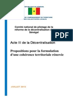 DE TÉLÉCHARGER DÉCENTRALISATION SÉNÉGAL ACTE LA 3 PDF AU