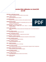 Lista Dos Comandos Mais Utilizados No AutoCAD Em 2D