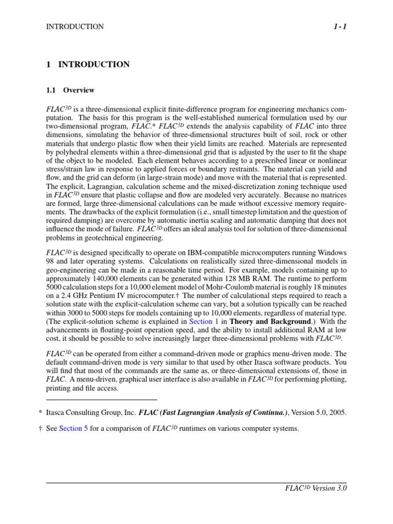 flac 3d 1 finite element method stress mechanics rh es scribd com FLAC3D Itasca FLAC Software