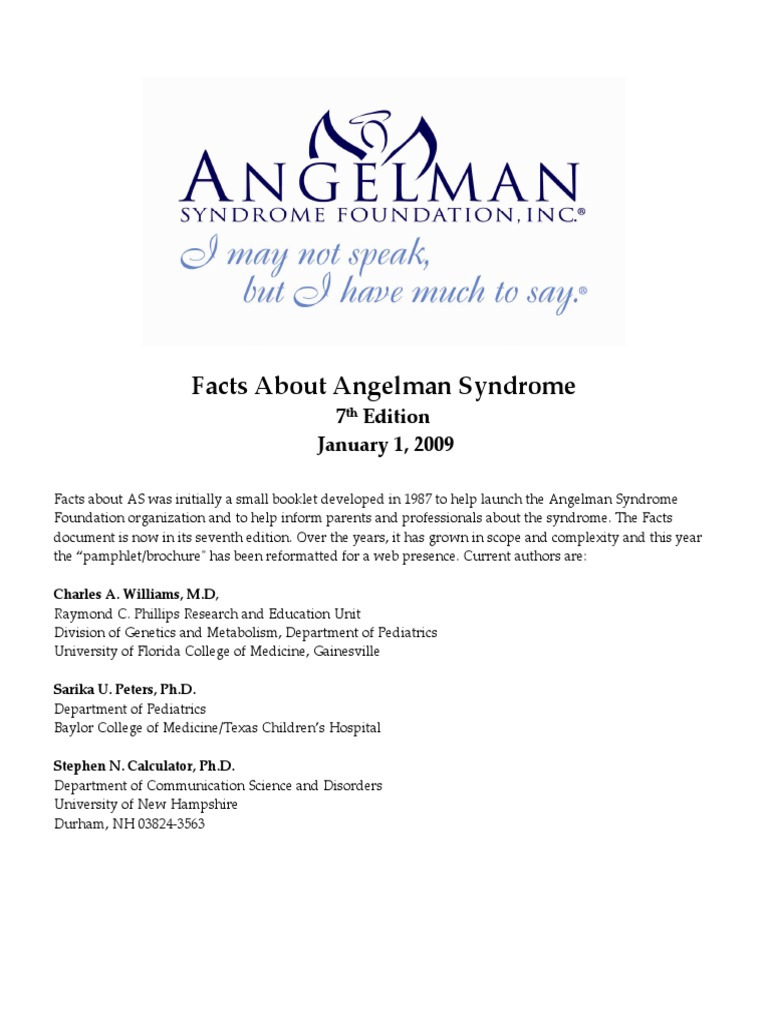 Angelman Syndrome Facts (1) pdf | Autism | Fluorescence In