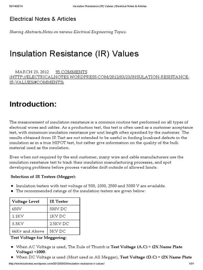 Insulation Resistance (IR) Values _ Electrical Notes
