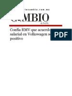 18-08-2015 Diario Matutino Cambio de Puebla - Confía RMV Que Acuerdo Salarial en Volkswagen Será Positivo