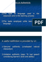 Authenticity in the Language Classroom and Microteaching 2014