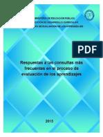 Respuestas a las Consultas más frecuentes en el proceso de evaluación de los aprendizajes  2015